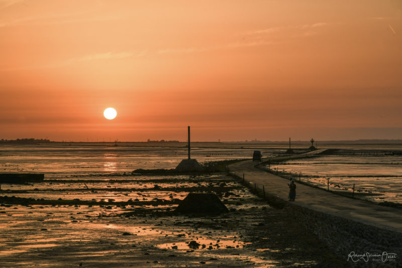 Coucher de soleil au Passage du Gois